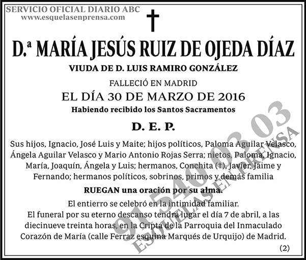 María Jesús Ruiz de Ojeda Díaz
